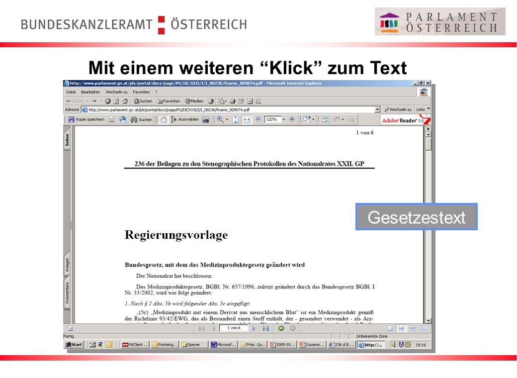 Mit einem weiteren Klick zum Text Gesetzestext
