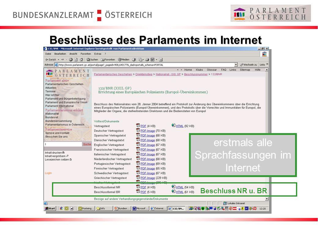 Beschlüsse des Parlaments im Internet Beschluss NR u. BR erstmals alle Sprachfassungen im Internet