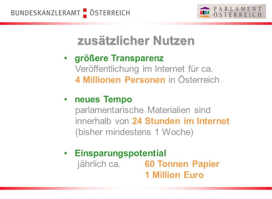 zusätzlicher Nutzen größere Transparenz Veröffentlichung im Internet für ca. 4 Millionen Personen in Österreich Einsparungspotential jährlich ca. 60 T