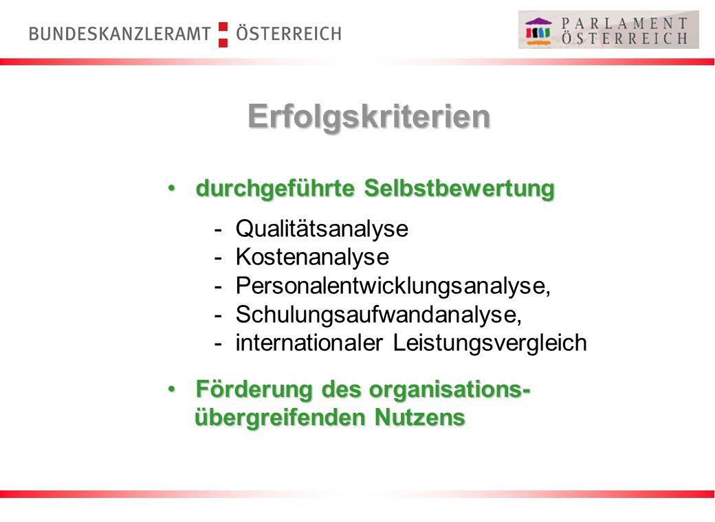Erfolgskriterien durchgeführte Selbstbewertung durchgeführte Selbstbewertung Förderung des organisations- Förderung des organisations- übergreifenden