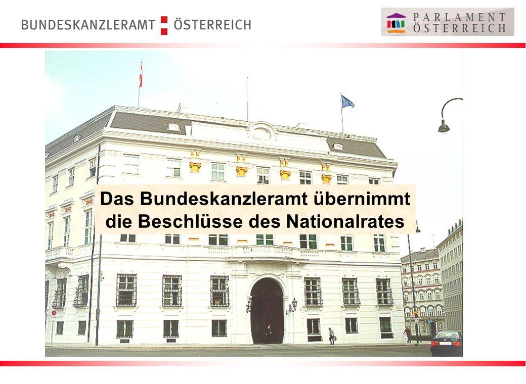 Das Bundeskanzleramt übernimmt die Beschlüsse des Nationalrates