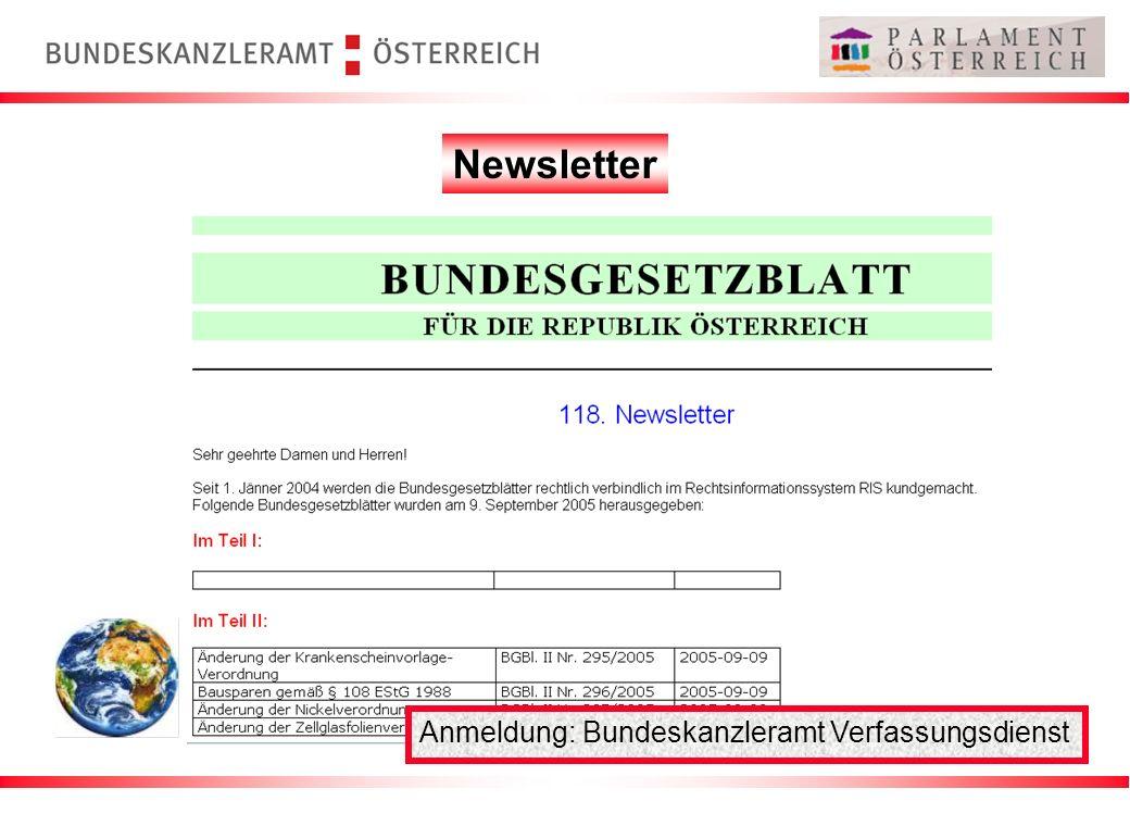 Newsletter Anmeldung: Bundeskanzleramt Verfassungsdienst