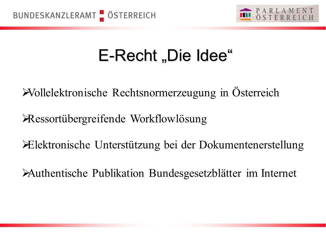 Vollelektronische Rechtsnormerzeugung in Österreich E-Recht Die Idee Ressortübergreifende Workflowlösung Elektronische Unterstützung bei der Dokumente
