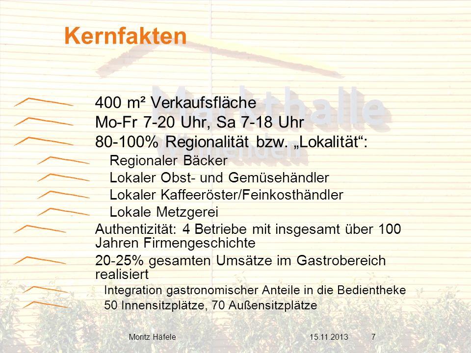 400 m² Verkaufsfläche Mo-Fr 7-20 Uhr, Sa 7-18 Uhr 80-100% Regionalität bzw. Lokalität: Regionaler Bäcker Lokaler Obst- und Gemüsehändler Lokaler Kaffe