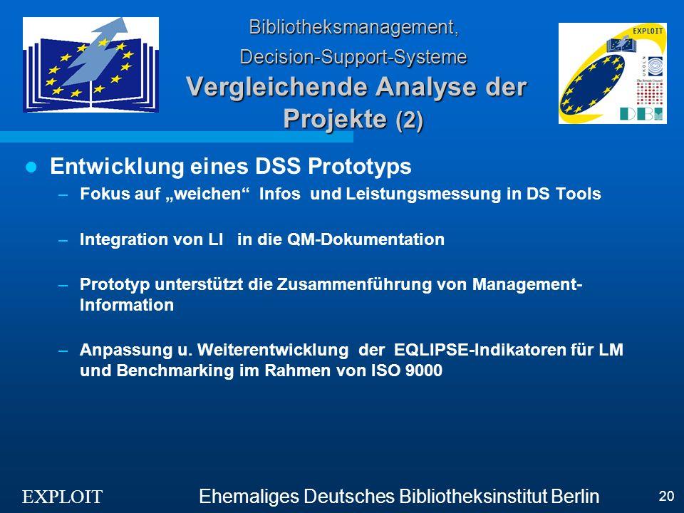 EXPLOIT Ehemaliges Deutsches Bibliotheksinstitut Berlin 20 Bibliotheksmanagement, Decision-Support-Systeme Vergleichende Analyse der Projekte (2) Entw