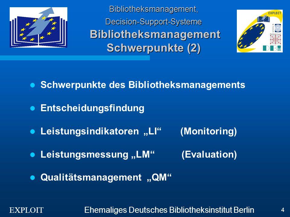 EXPLOIT Ehemaliges Deutsches Bibliotheksinstitut Berlin 4 Bibliotheksmanagement, Decision-Support-Systeme Bibliotheksmanagement Schwerpunkte (2) Schwe