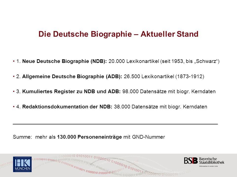 Die Deutsche Biographie – Aktueller Stand 1. Neue Deutsche Biographie (NDB): 20.000 Lexikonartikel (seit 1953, bis Schwarz) 2. Allgemeine Deutsche Bio