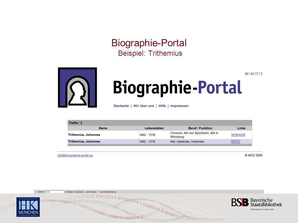 Biographie-Portal Beispiel: Trithemius
