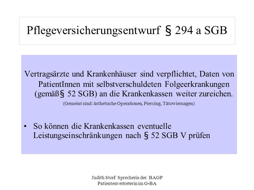 Judith Storf Sprecherin der BAGP Patientenvertreterin im G-BA Pflegeversicherungsentwurf § 294 a SGB Vertragsärzte und Krankenhäuser sind verpflichtet