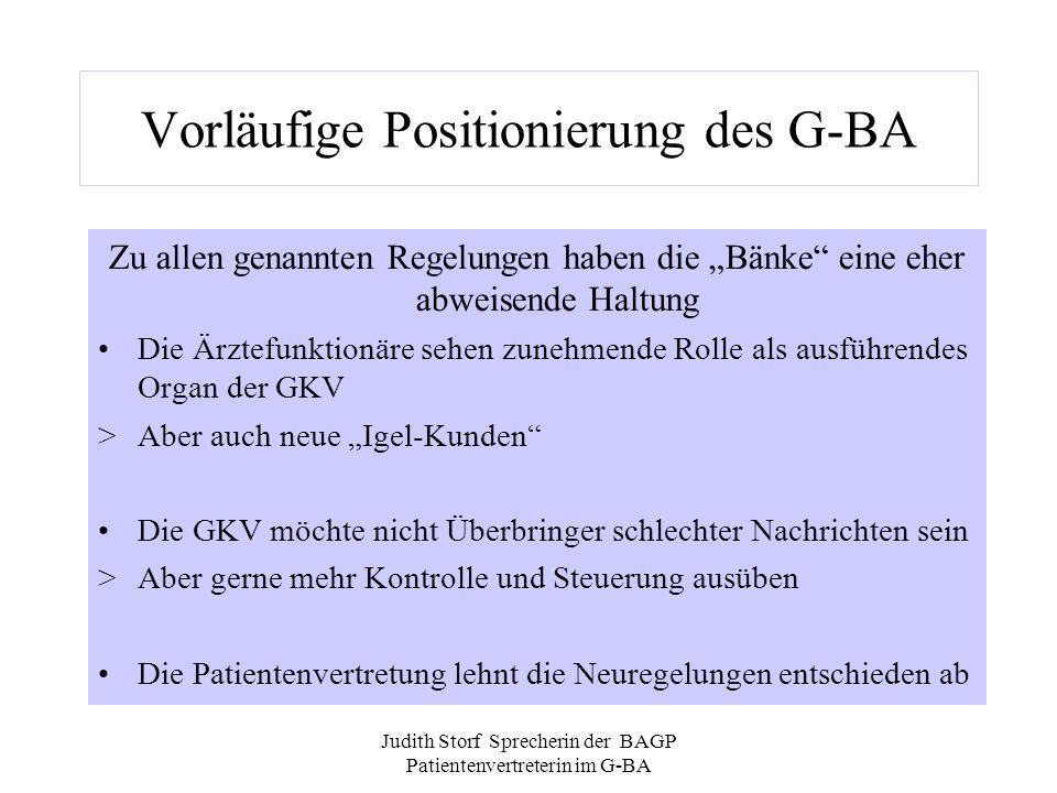 Judith Storf Sprecherin der BAGP Patientenvertreterin im G-BA Vorläufige Positionierung des G-BA Zu allen genannten Regelungen haben die Bänke eine eh