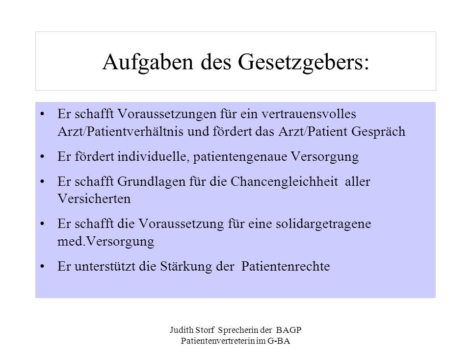 Judith Storf Sprecherin der BAGP Patientenvertreterin im G-BA...und die Realität: Geringe Koordinierung von Präventionsmassnahmen.