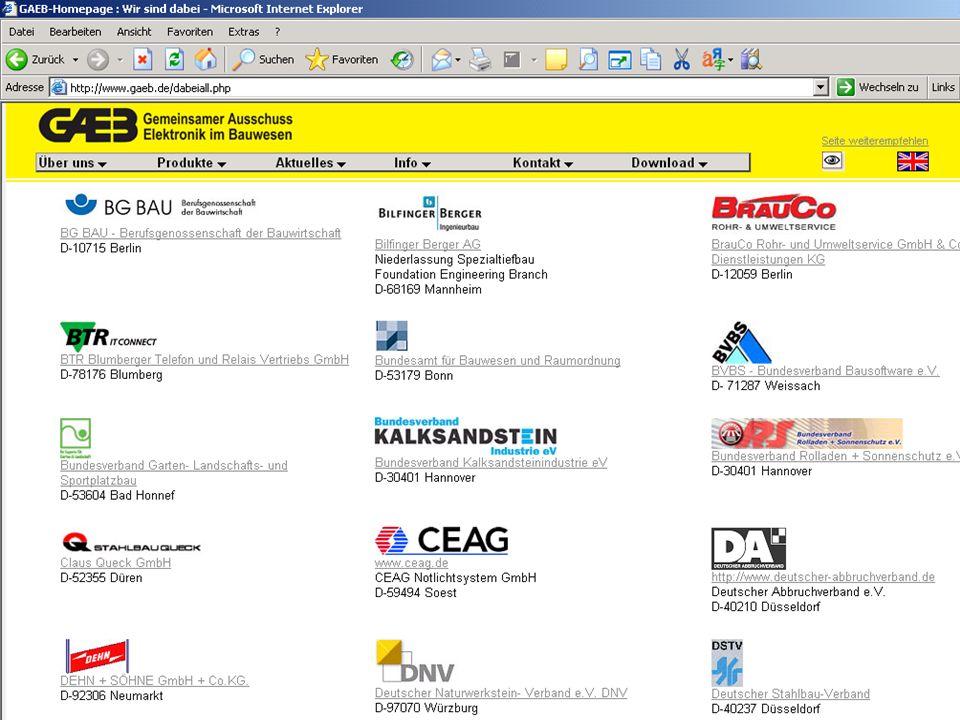Gemeinsamer Ausschuss Elektronik im Bauwesen Hauptausschuss im Deutschen Vergabe- und Vertragsausschuss für Bauleistungen (DVA) Gemeinsamer Ausschuss Elektronik im Bauwesen Hauptausschuss im Deutschen Vergabe- und Vertragsausschuss für Bauleistungen (DVA) 6 6