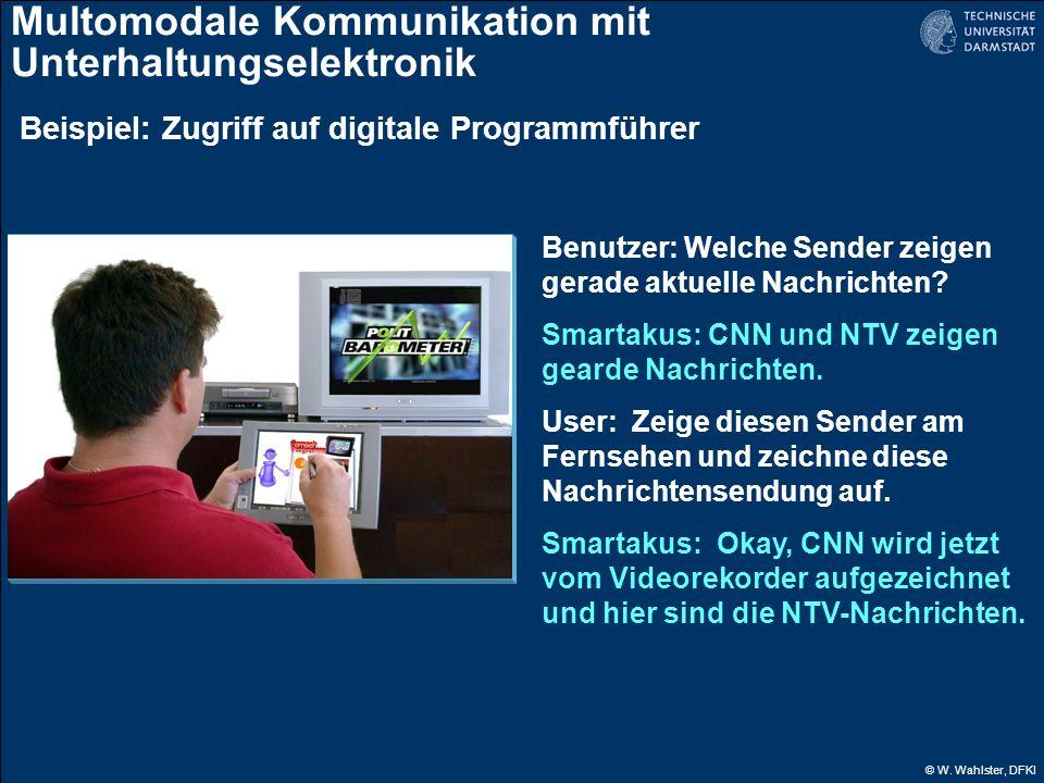© W. Wahlster, DFKI Multomodale Kommunikation mit Unterhaltungselektronik Benutzer: Welche Sender zeigen gerade aktuelle Nachrichten? Smartakus: CNN u