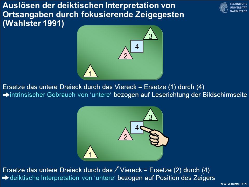 © W. Wahlster, DFKI Auslösen der deiktischen Interpretation von Ortsangaben durch fokusierende Zeigegesten (Wahlster 1991) 1 2 3 4 Ersetze das untere