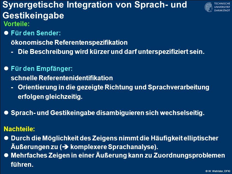 © W. Wahlster, DFKI Synergetische Integration von Sprach- und Gestikeingabe Vorteile: Für den Sender: ökonomische Referentenspezifikation -Die Beschre