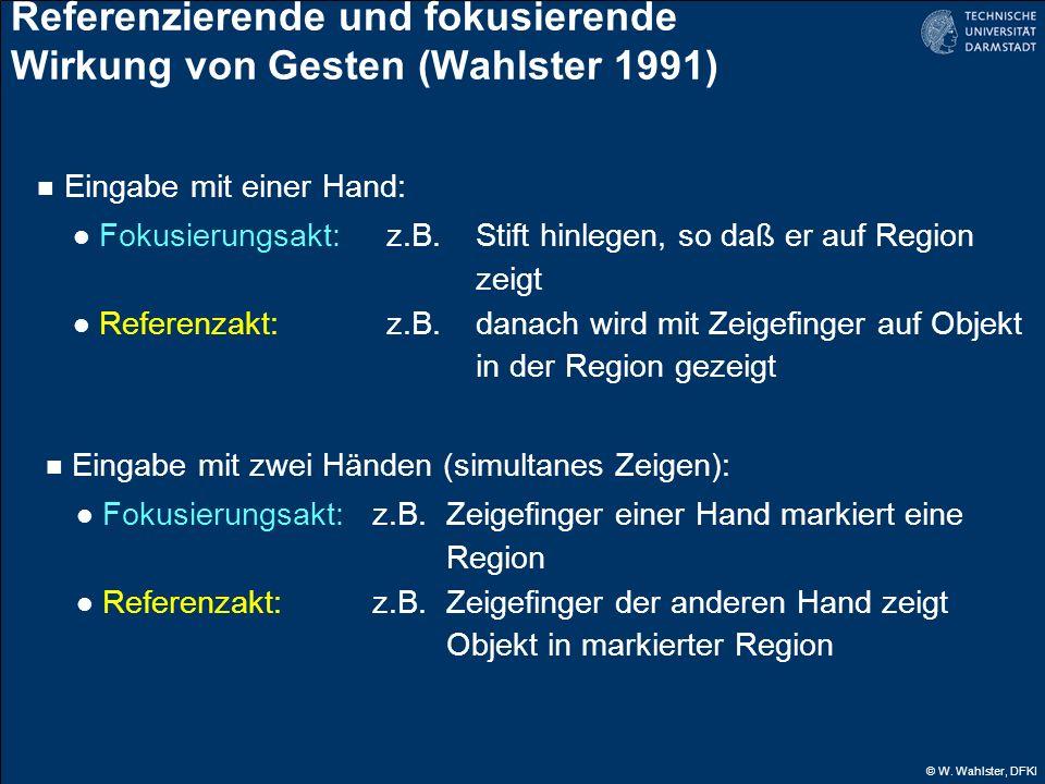 © W. Wahlster, DFKI Referenzierende und fokusierende Wirkung von Gesten (Wahlster 1991) Eingabe mit einer Hand: Fokusierungsakt:z.B. Stift hinlegen, s