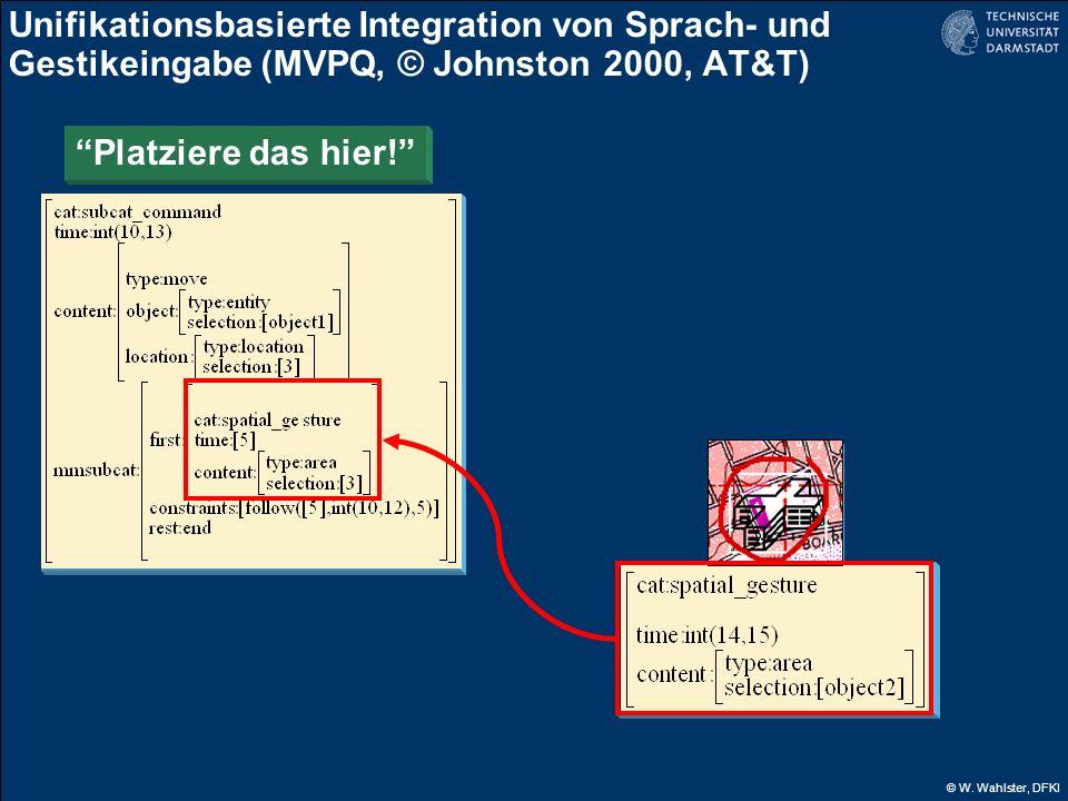 © W. Wahlster, DFKI Unifikationsbasierte Integration von Sprach- und Gestikeingabe (MVPQ, © Johnston 2000, AT&T) Platziere das hier!