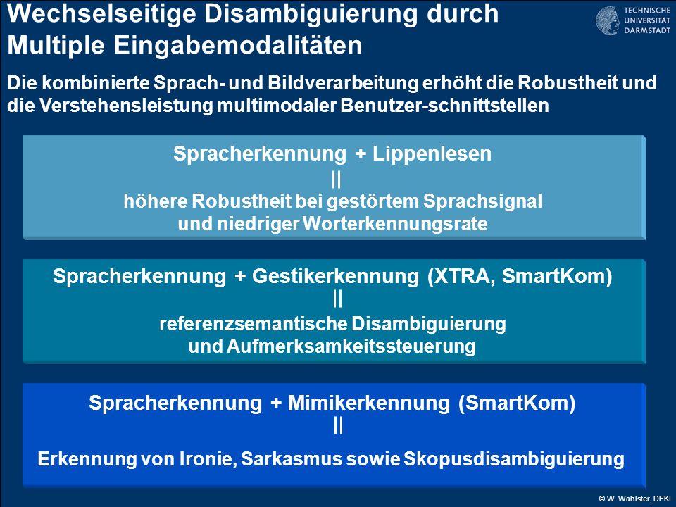 © W. Wahlster, DFKI Wechselseitige Disambiguierung durch Multiple Eingabemodalitäten Die kombinierte Sprach- und Bildverarbeitung erhöht die Robusthei