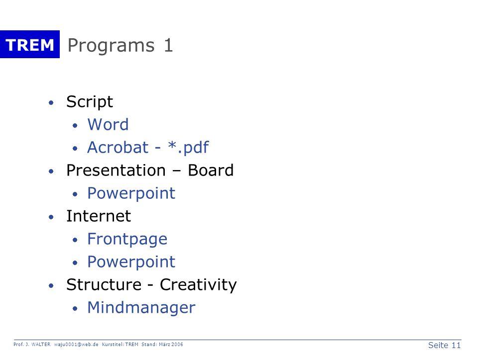 Seite 11 Prof. J. WALTER waju0001@web.de Kurstitel: TREM Stand: März 2006 TREM Programs 1 Script Word Acrobat - *.pdf Presentation – Board Powerpoint