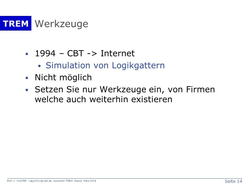 Seite 14 Prof. J. WALTER waju0001@web.de Kurstitel: TREM Stand: März 2006 TREM Werkzeuge 1994 – CBT -> Internet Simulation von Logikgattern Nicht mögl