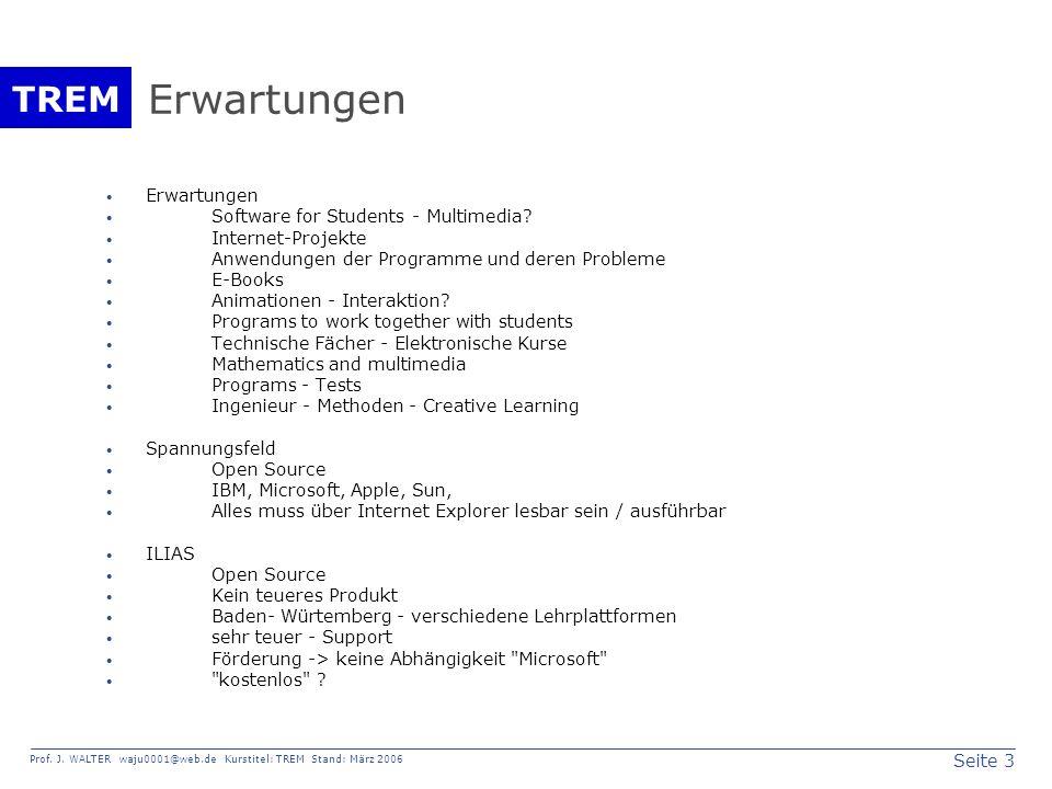 Seite 3 Prof. J. WALTER waju0001@web.de Kurstitel: TREM Stand: März 2006 TREM Erwartungen Software for Students - Multimedia? Internet-Projekte Anwend