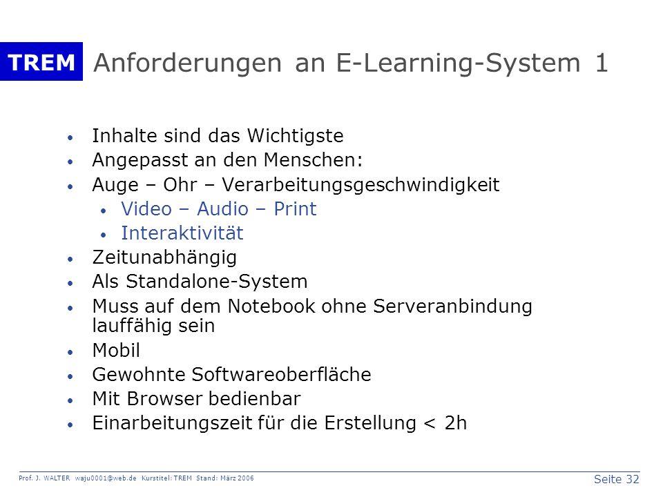 Seite 32 Prof. J. WALTER waju0001@web.de Kurstitel: TREM Stand: März 2006 TREM Anforderungen an E-Learning-System 1 Inhalte sind das Wichtigste Angepa