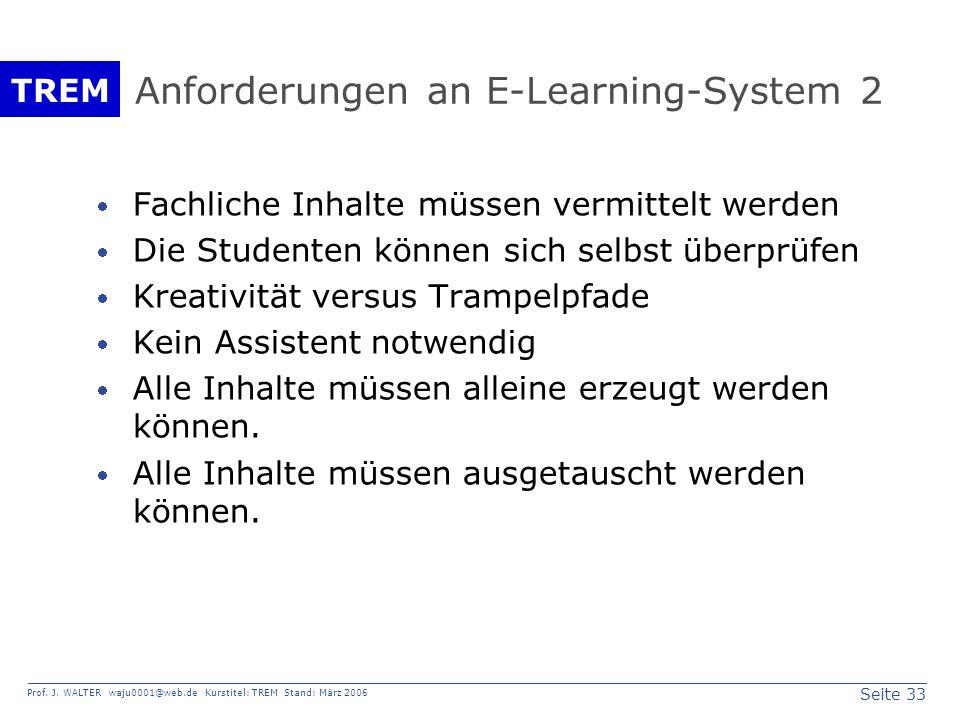 Seite 33 Prof. J. WALTER waju0001@web.de Kurstitel: TREM Stand: März 2006 TREM Anforderungen an E-Learning-System 2 Fachliche Inhalte müssen vermittel