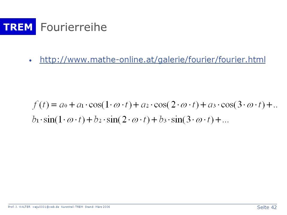 Seite 42 Prof. J. WALTER waju0001@web.de Kurstitel: TREM Stand: März 2006 TREM Fourierreihe http://www.mathe-online.at/galerie/fourier/fourier.html