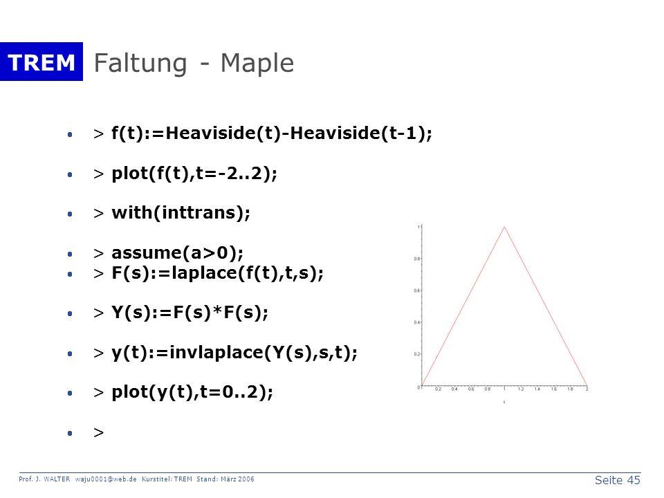 Seite 45 Prof. J. WALTER waju0001@web.de Kurstitel: TREM Stand: März 2006 TREM Faltung - Maple > f(t):=Heaviside(t)-Heaviside(t-1); > plot(f(t),t=-2..