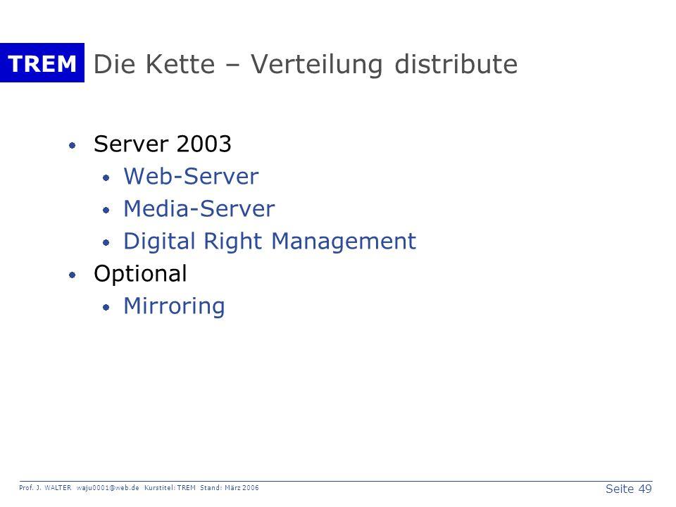 Seite 49 Prof. J. WALTER waju0001@web.de Kurstitel: TREM Stand: März 2006 TREM Die Kette – Verteilung distribute Server 2003 Web-Server Media-Server D