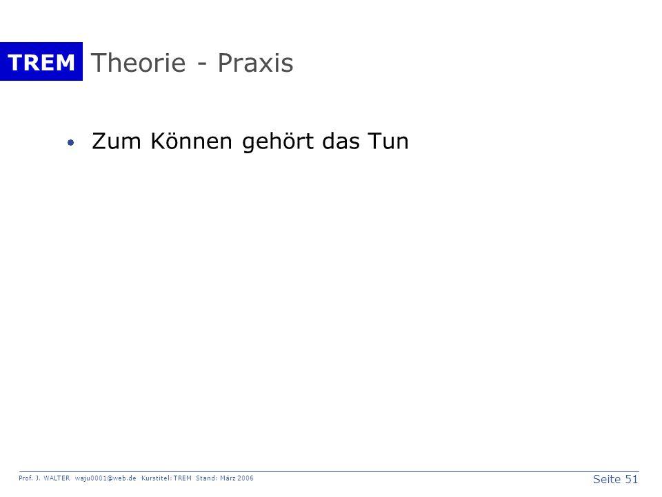 Seite 51 Prof. J. WALTER waju0001@web.de Kurstitel: TREM Stand: März 2006 TREM Theorie - Praxis Zum Können gehört das Tun