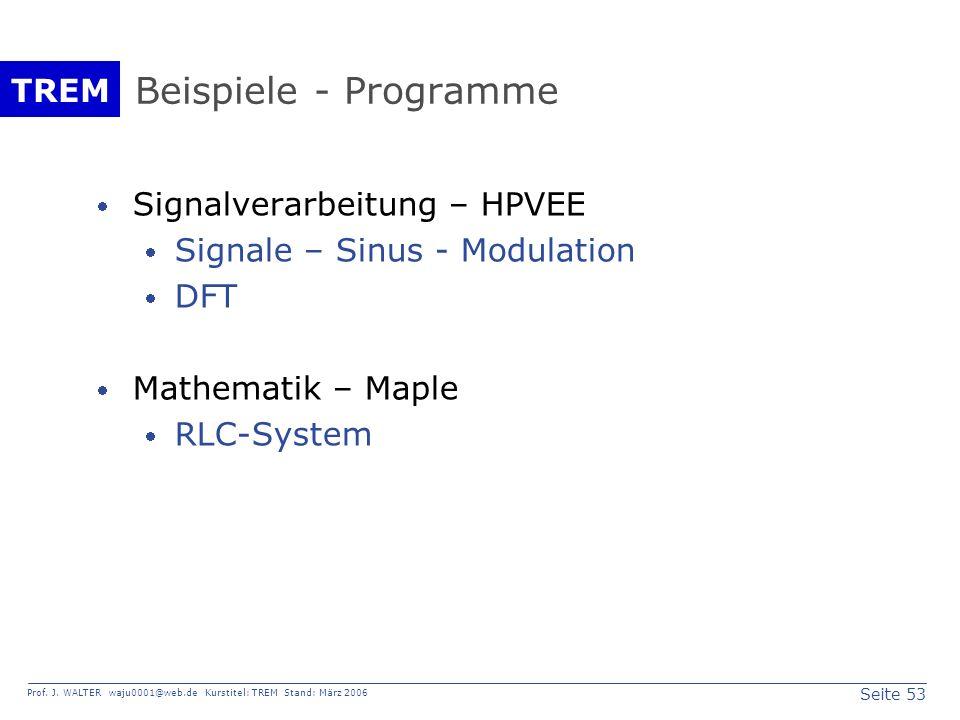 Seite 53 Prof. J. WALTER waju0001@web.de Kurstitel: TREM Stand: März 2006 TREM Beispiele - Programme Signalverarbeitung – HPVEE Signale – Sinus - Modu