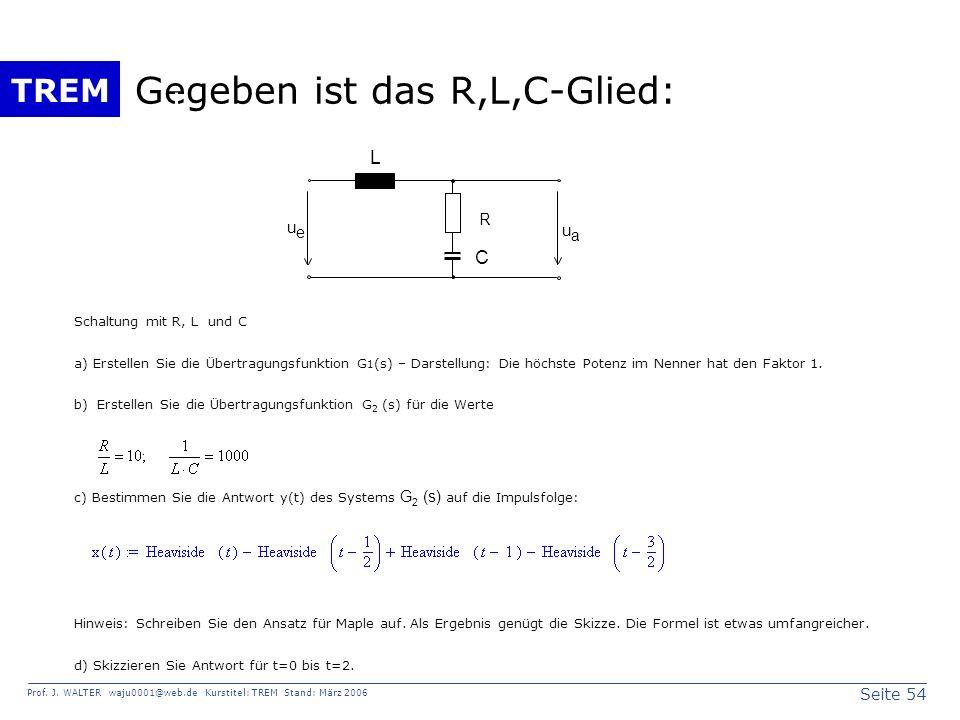 Seite 54 Prof. J. WALTER waju0001@web.de Kurstitel: TREM Stand: März 2006 TREM Gegeben ist das R,L,C-Glied: u e u a R C L Schaltung mit R, L und C a)