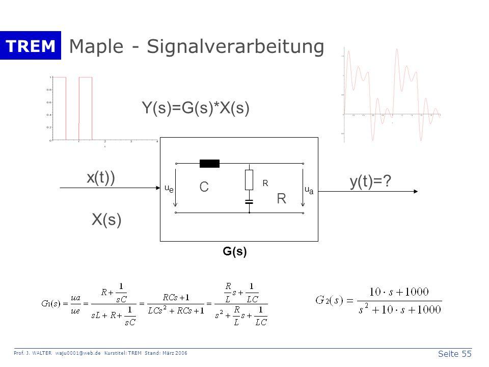 Seite 55 Prof. J. WALTER waju0001@web.de Kurstitel: TREM Stand: März 2006 TREM Maple - Signalverarbeitung u e u a R y(t)=? X(s) Y(s)=G(s)*X(s) R C x(t