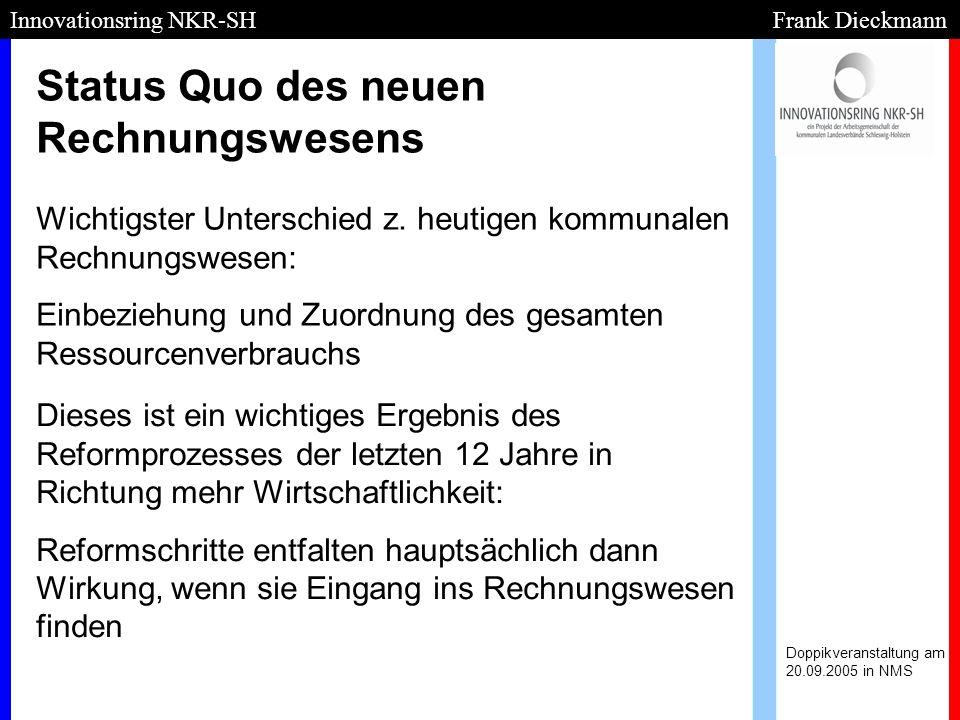 Status Quo des neuen Rechnungswesens Doppikveranstaltung am 20.09.2005 in NMS Innovationsring NKR-SH Frank Dieckmann Wichtigster Unterschied z. heutig
