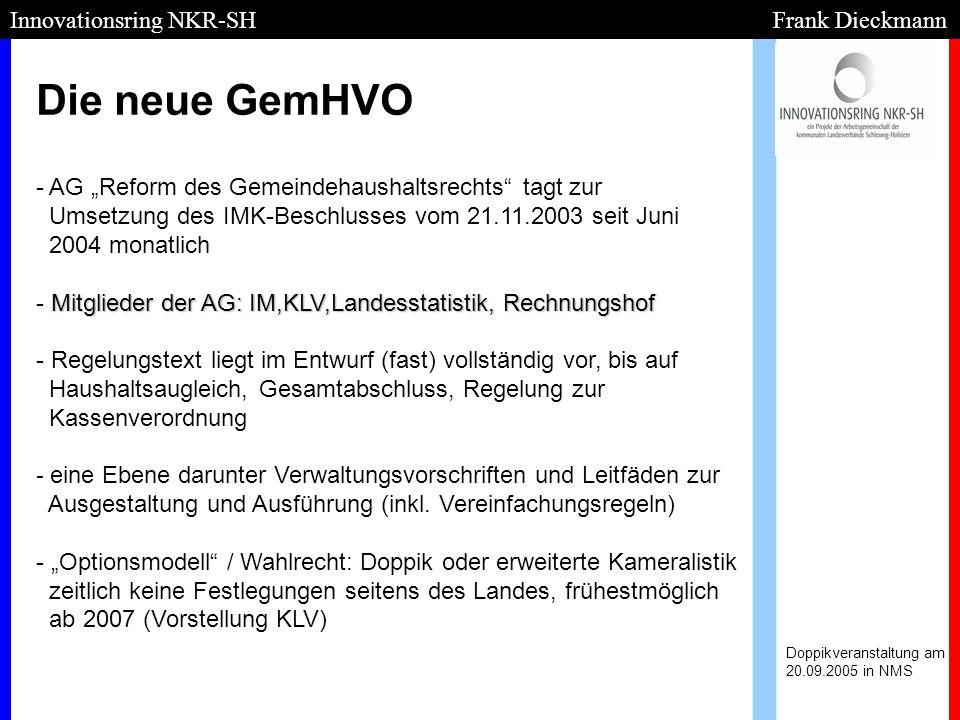 Die neue GemHVO Doppikveranstaltung am 20.09.2005 in NMS Innovationsring NKR-SH Frank Dieckmann - Mitglieder der AG: IM,KLV,Landesstatistik, Rechnungs