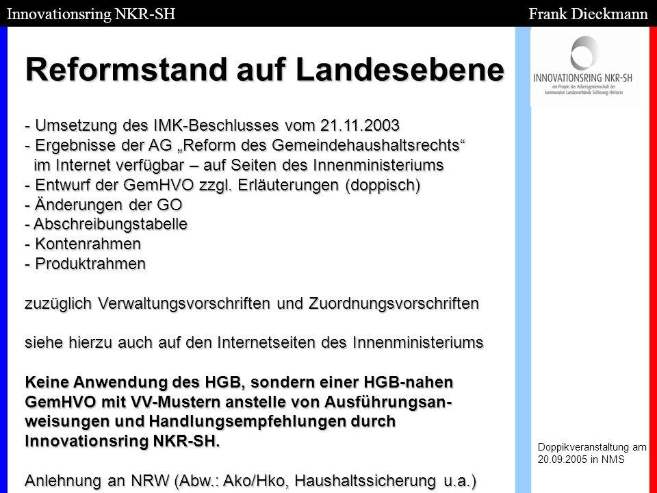 Reformstand auf Landesebene Doppikveranstaltung am 20.09.2005 in NMS Innovationsring NKR-SH Frank Dieckmann - Umsetzung des IMK-Beschlusses vom 21.11.