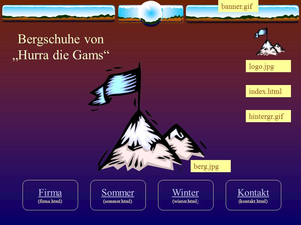 Sommer Sommer (sommer.html) Firma Firma (firma.html) Winter Winter (winter.html)) Kontakt Kontakt (kontakt.html) Bergschuhe von Hurra die Gams index.h