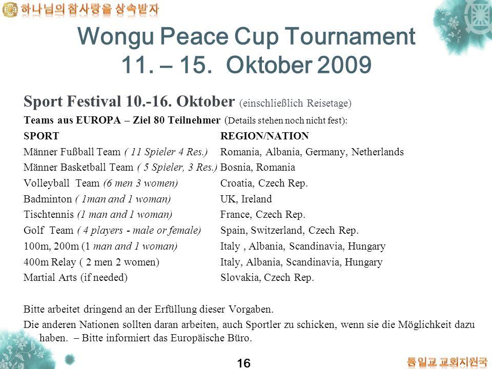 16 Sport Festival 10.-16. Oktober (einschließlich Reisetage) Teams aus EUROPA – Ziel 80 Teilnehmer ( Details stehen noch nicht fest): SPORT REGION/NAT