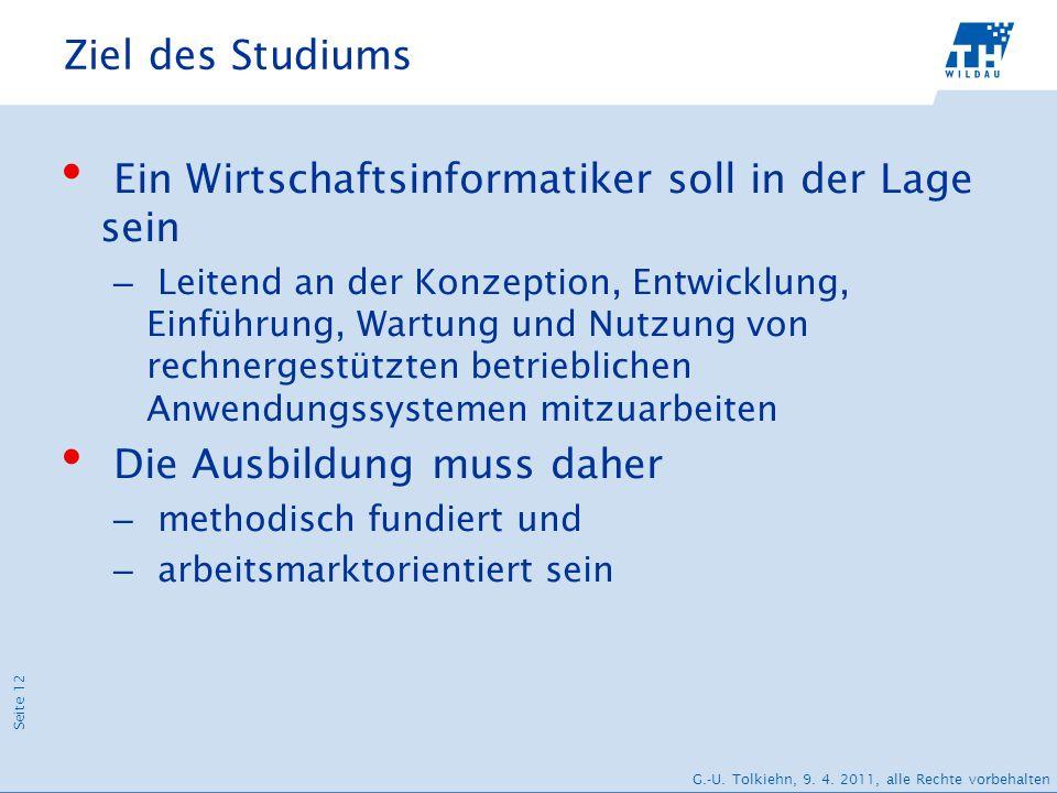 Seite 12 G.-U. Tolkiehn, 9. 4. 2011, alle Rechte vorbehalten Ziel des Studiums Ein Wirtschaftsinformatiker soll in der Lage sein – Leitend an der Konz