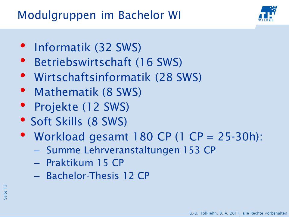 Seite 13 G.-U. Tolkiehn, 9. 4. 2011, alle Rechte vorbehalten Modulgruppen im Bachelor WI Informatik (32 SWS) Betriebswirtschaft (16 SWS) Wirtschaftsin