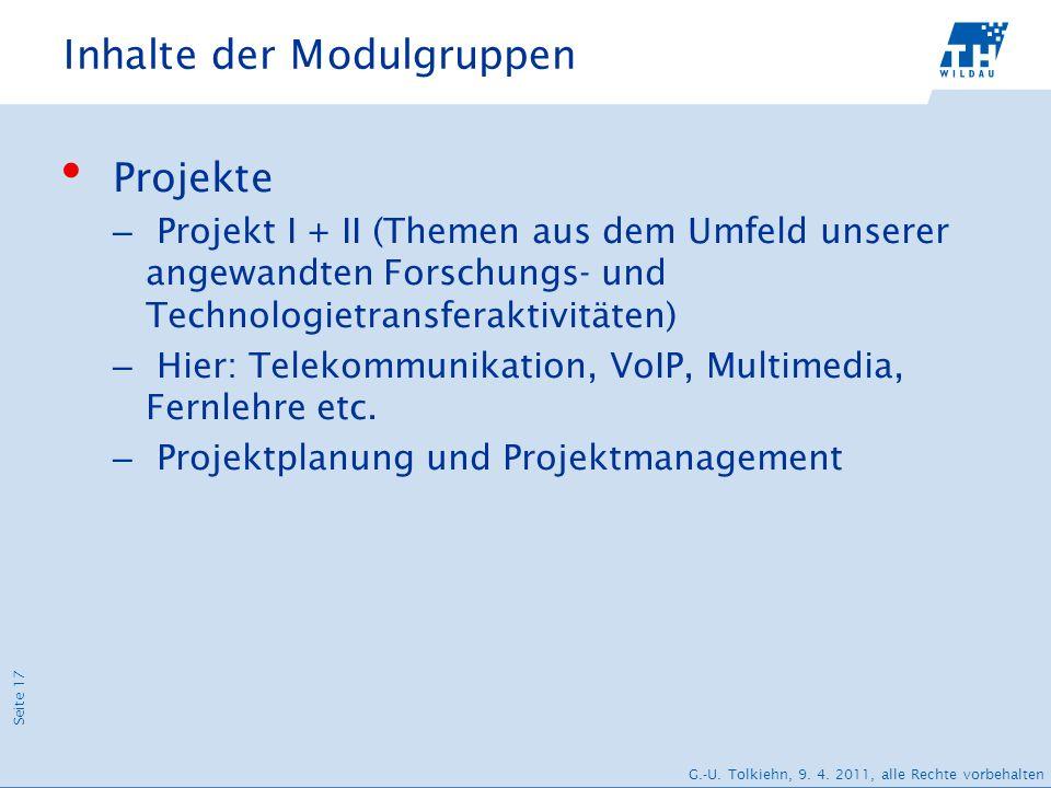 Seite 17 G.-U. Tolkiehn, 9. 4. 2011, alle Rechte vorbehalten Inhalte der Modulgruppen Projekte – Projekt I + II (Themen aus dem Umfeld unserer angewan