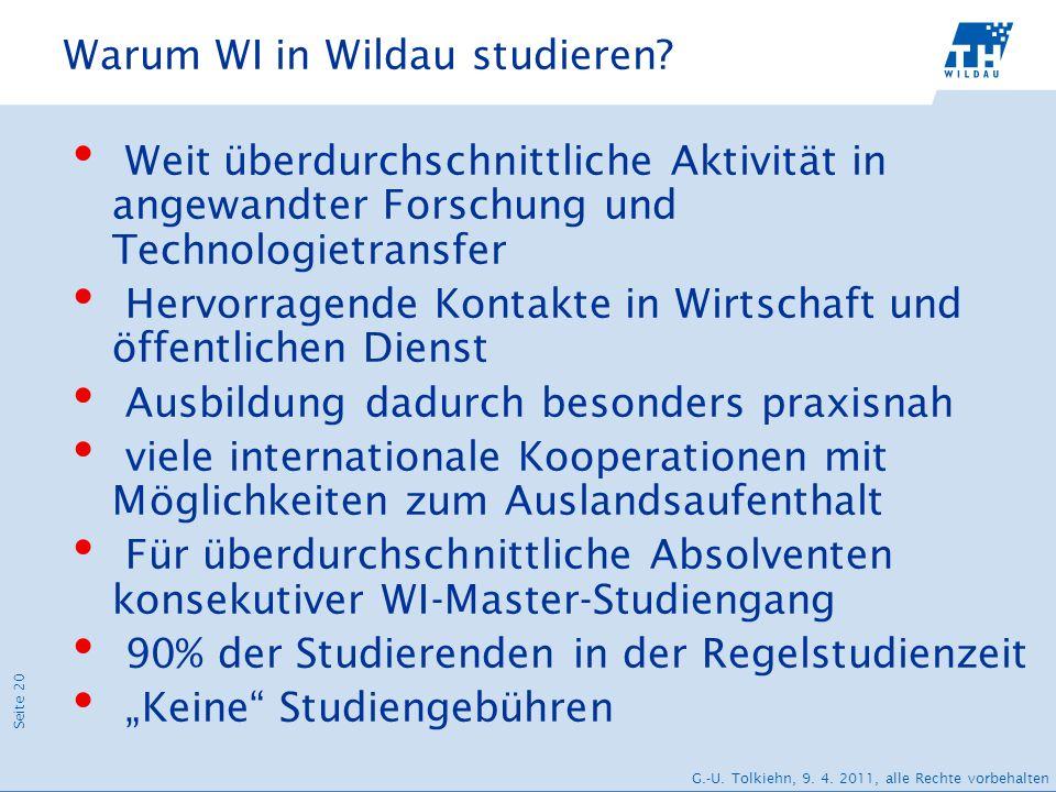 Seite 20 G.-U. Tolkiehn, 9. 4. 2011, alle Rechte vorbehalten Warum WI in Wildau studieren? Weit überdurchschnittliche Aktivität in angewandter Forschu