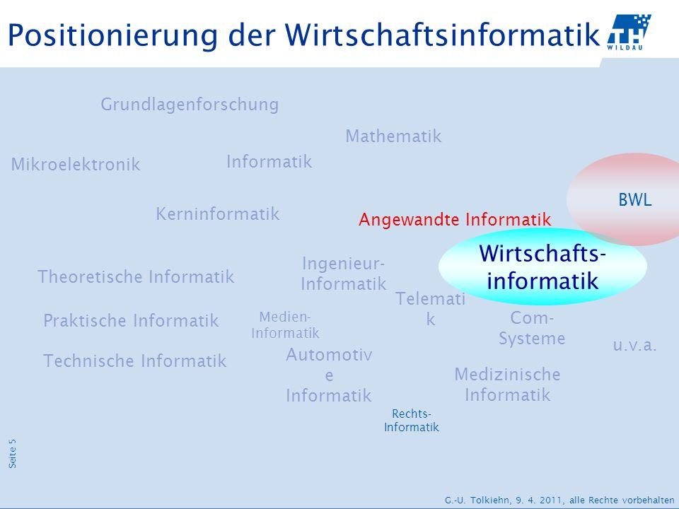 Seite 5 G.-U. Tolkiehn, 9. 4. 2011, alle Rechte vorbehalten Positionierung der Wirtschaftsinformatik Kerninformatik Technische Informatik Informatik T