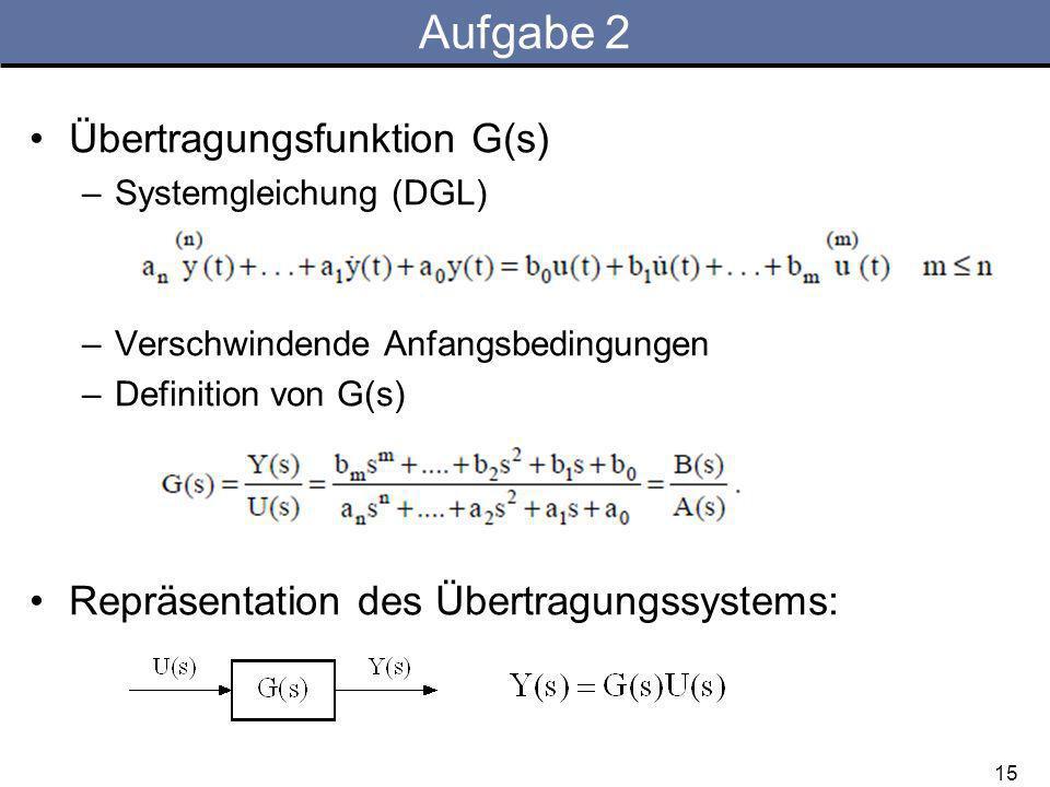 Aufgabe 2 Übertragungsfunktion G(s) –Systemgleichung (DGL) –Verschwindende Anfangsbedingungen –Definition von G(s) Repräsentation des Übertragungssystems: 15