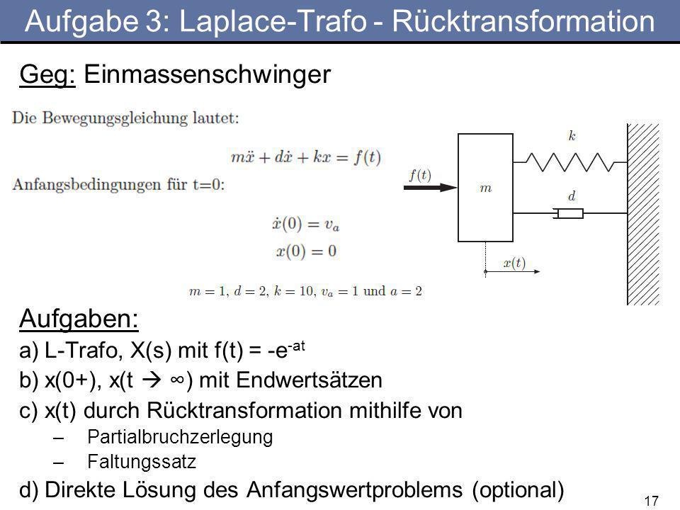17 Aufgabe 3: Laplace-Trafo - Rücktransformation Geg: Einmassenschwinger Aufgaben: a)L-Trafo, X(s) mit f(t) = -e -at b)x(0+), x(t ) mit Endwertsätzen