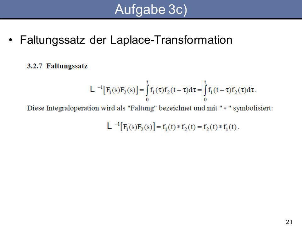 Aufgabe 3c) Faltungssatz der Laplace-Transformation 21