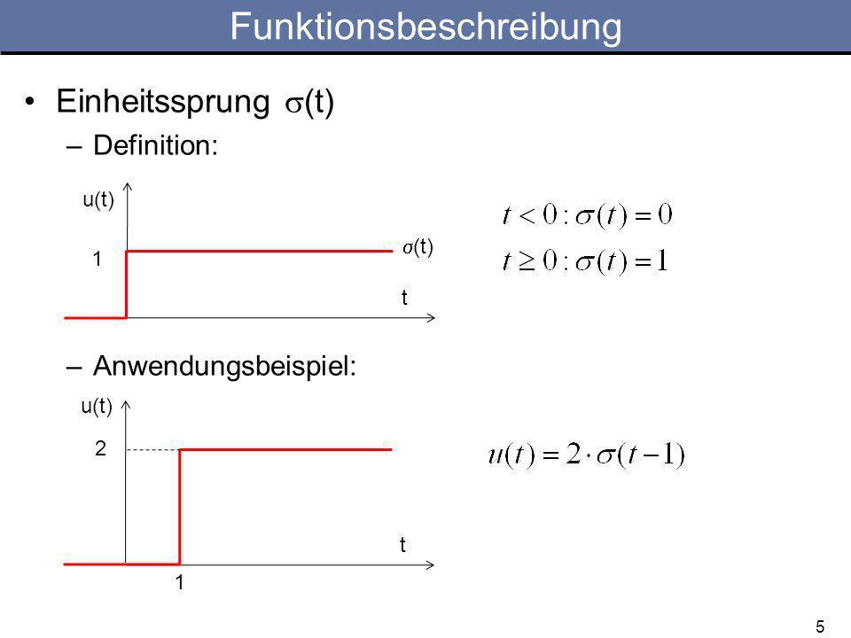 5 Funktionsbeschreibung Einheitssprung (t) –Definition: –Anwendungsbeispiel: t u(t) (t) 1 t u(t) 2 1