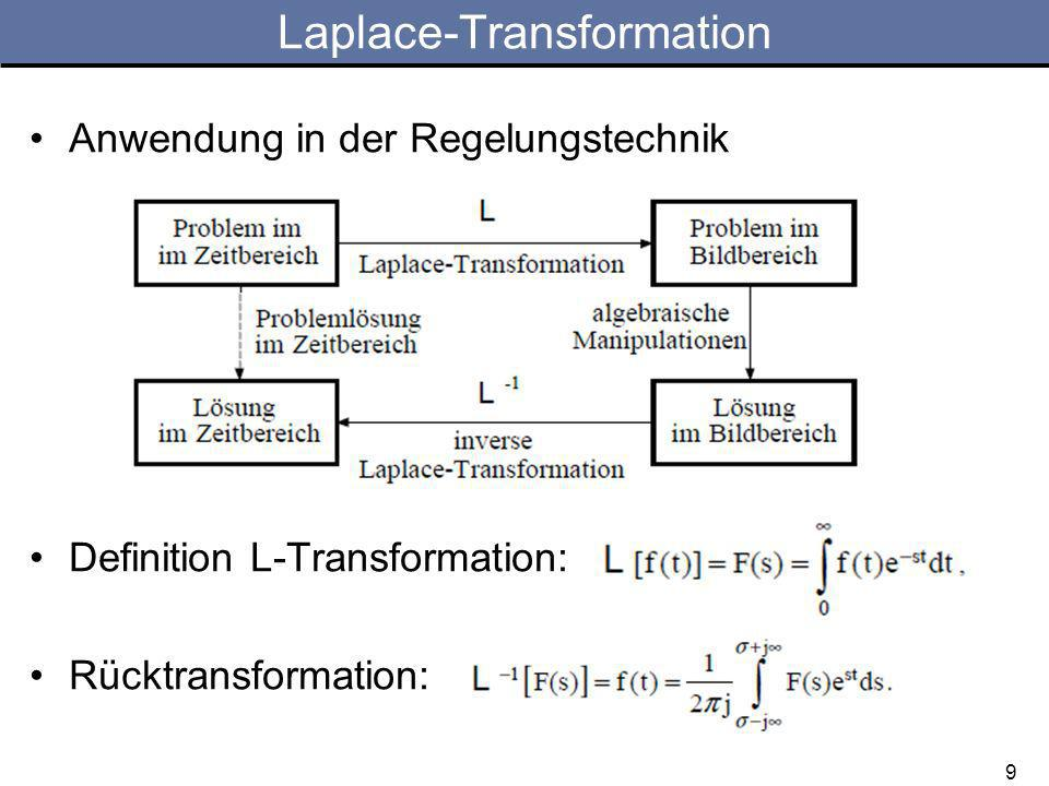Anwendung in der Regelungstechnik Definition L-Transformation: Rücktransformation: Laplace-Transformation 9