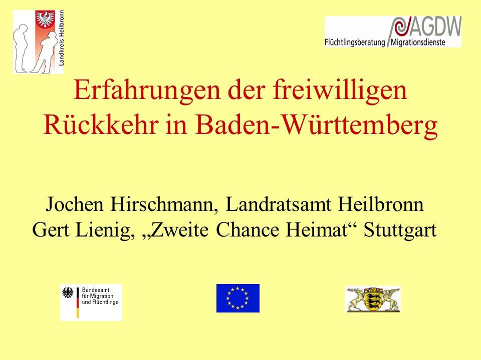Erfahrungen der freiwilligen Rückkehr in Baden-Württemberg Jochen Hirschmann, Landratsamt Heilbronn Gert Lienig, Zweite Chance Heimat Stuttgart